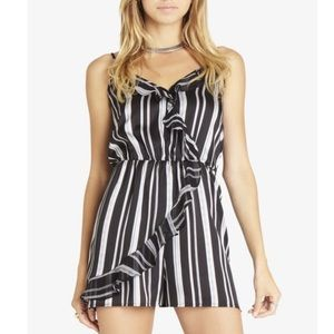 BCBGeneration Wrap-Front Striped Ruffle Romper